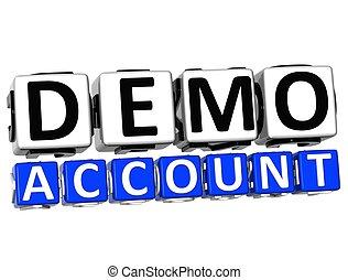 3d, demo, cuenta, botón, haga clic aquí, bloque, texto