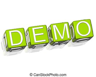 Demo - 3D Demo Green Cube text on white background