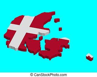 3D Denmark map flag Vector illustration. EPS10