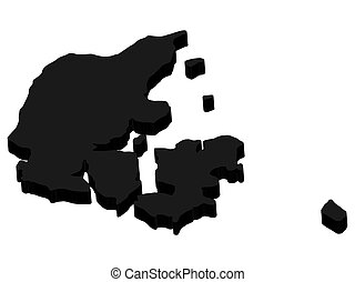 3D Denmark map silhouette black Vector illustration. EPS10