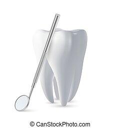 3d, dent, concept, santé, conception, arrière-plan., inspection, miroir, icône, dentiste, clipart., tool., closeup, vecteur, réaliste, isolé, dents blanches, dentaire, monde médical, gabarit