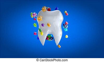 3d, -, dentaire, animation, soin