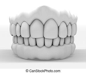 3d denture - 3d image of white denture isolated on white