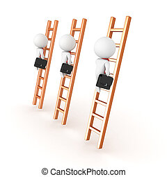3D depiction of climbing the corporate ladder concept