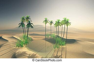3D desert oasis landscape with palm trees - 3D render of a...
