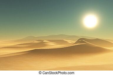 3D desert scene - 3D render of a desert scene