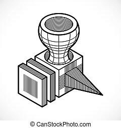 3D design, abstract vector cube shape.