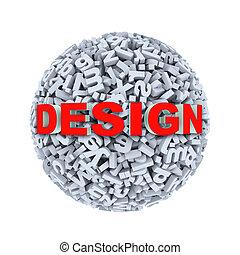 3d design - alphabet letter character sphere ball