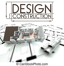 Design construction with project of house on blueprints