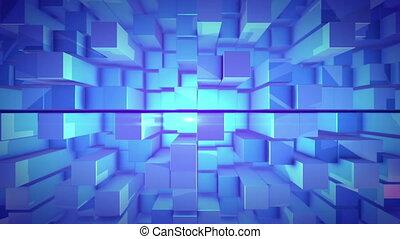 """""""3D design cubes in a vertical pan shot """" - """"A futuristic 3d..."""