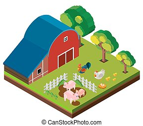 3D design for barn scene with many animals