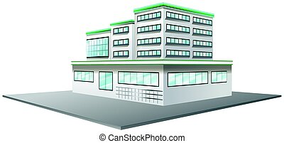 3D design for building in white color