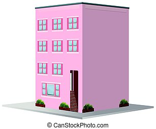 3D design for building painted in pink