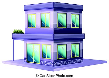 3D design for building painted in purple