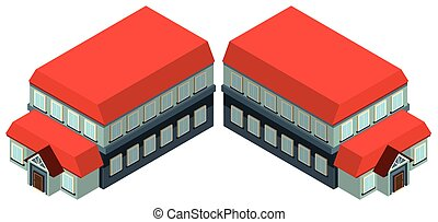 3D design for building with red roof