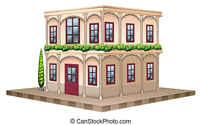 3D design for building with red windows and door