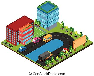 3D design for buildings and cars on the road