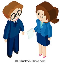 3D design for businessman and woman