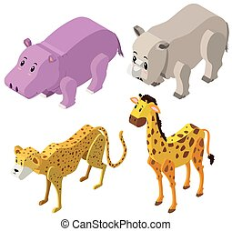 3D design for different types of animals