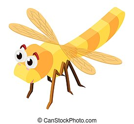 3D design for dragonfly in yellow color