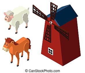 3D design for farm animals and windmill