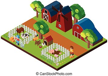 3D design for farm scene with animals and barns