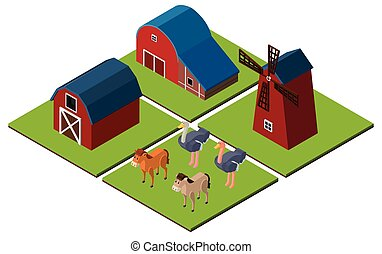 3D design for farm scene with barns and animals