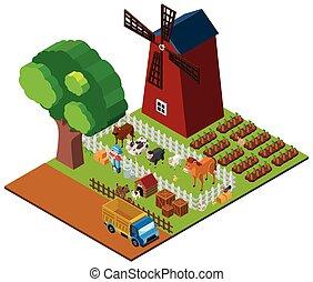 3D design for farmland with farmer and animals
