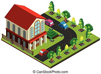 3D design for house and road with cars