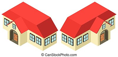 3D design for house with red roof