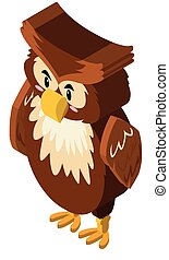 3D design for owl with brown feather