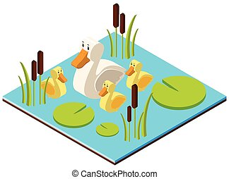 3D design for pond scene with ducks