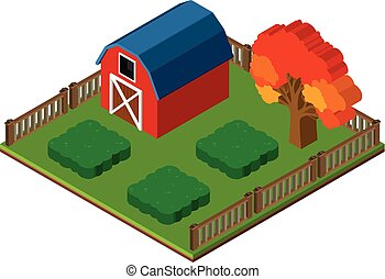 3D design for red barn and garden