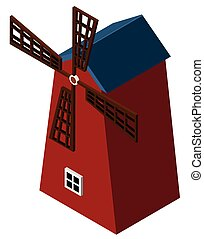 3D design for red windmill