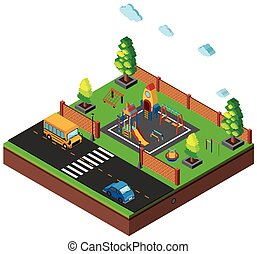 3D design for scene with playground and cars on road