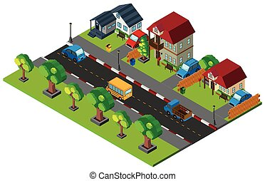 3D design for town with houses and cars