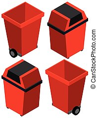 3D design for trashcan in red color