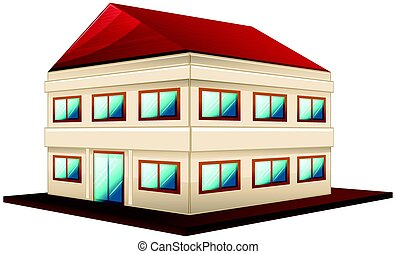 3D design for wide building with red roof