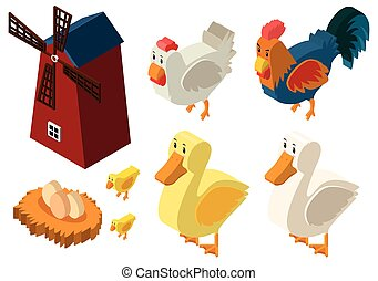 3D design for windmill and chickens