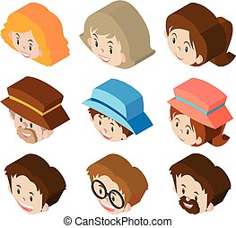 3D design for woman and man faces