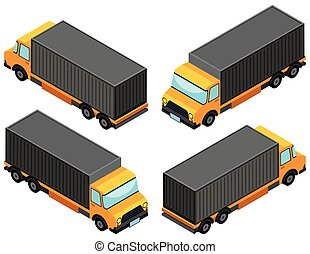 3D design for yellow lorry truck