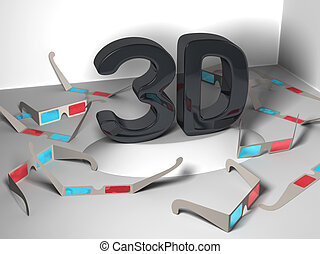 3D design in center with glasses
