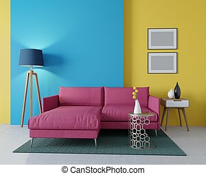 3d design of a modern living room. Corner burgundy sofa