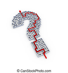 3d design of solved question mark mark puzzle