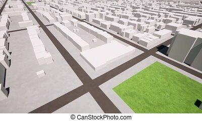 3d, design., ville, perspective, bâtiment., projet jeu, résumé, architecture