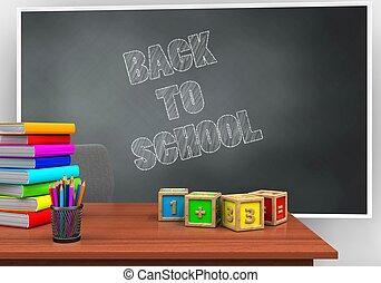 3d desk - 3d illustration of blackboard with back to school...