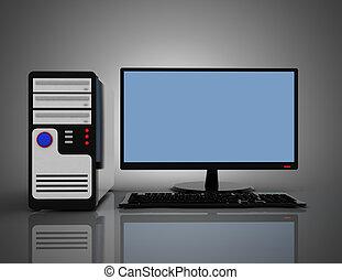 3D desktop computer pc concept.3d illustration