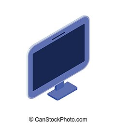 3d desktop computer screen on white background