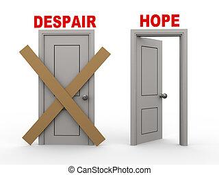 3d illustration of closed door of concept of despair and open door having word hope.
