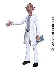 3d, dessin animé, présentation, quelque chose, docteur